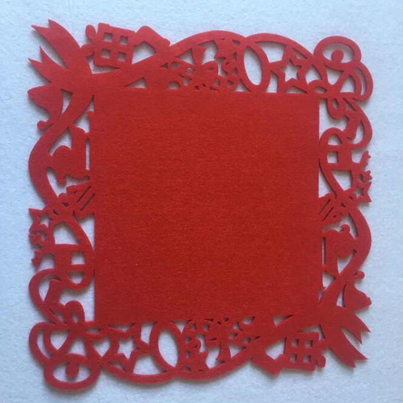 HOT SALE Laser Cut Flower Felt Placemats Kitchen Dinner Table Cup Mats Cushion Red