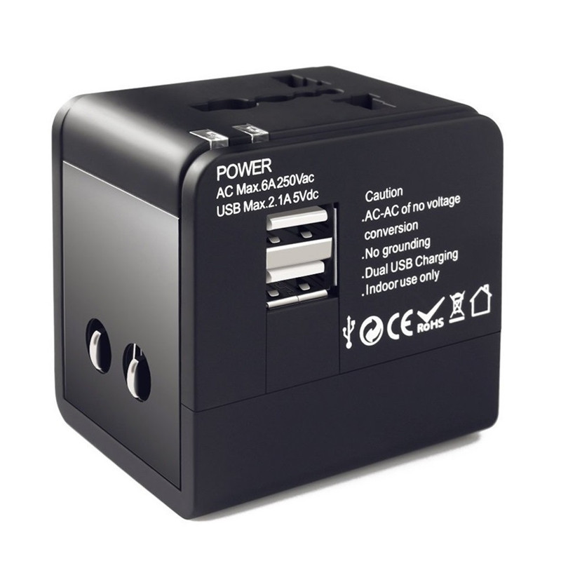 RRTRAVEL best travel gift universal travel adapter with 2 usb AUS US UE UK plug all in one adaptor