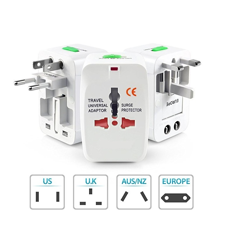 Worldwide Travel Power Adapter, Universal Travel Adaptor AC Power Plug Adapter for USA EU UK AUS Cell Phone Laptop Covers 150+ Countries
