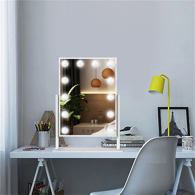 Table 360 degree Rotation lighted Bulbs Bedroom led vanity girl hollywood makeup mirror