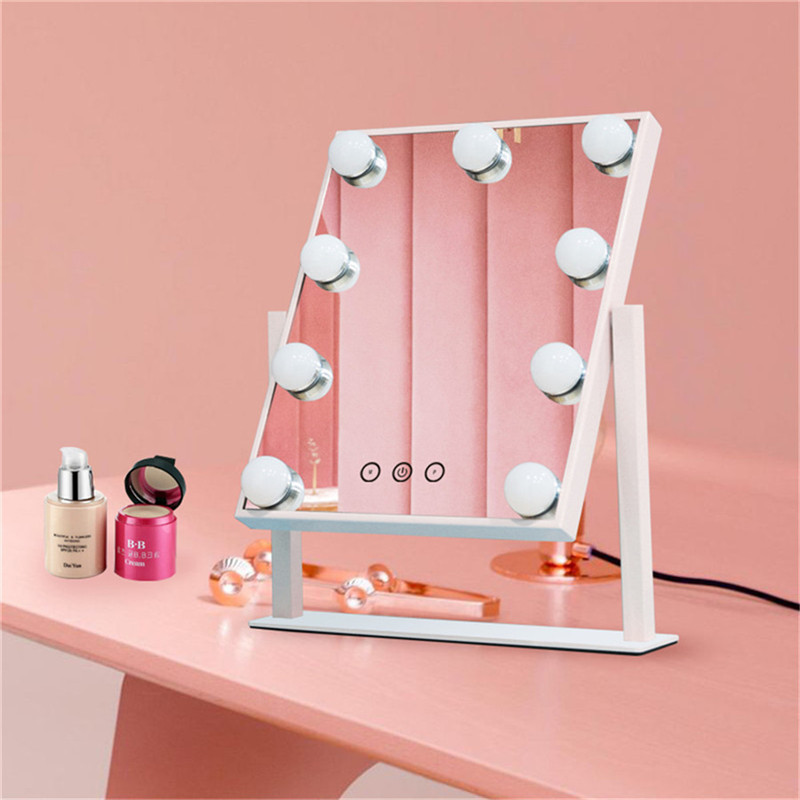 Touch Control Dimmable Brightness 360 Rotating Vanity Makeup Hollywood Mirror with 12 LED Bulbs