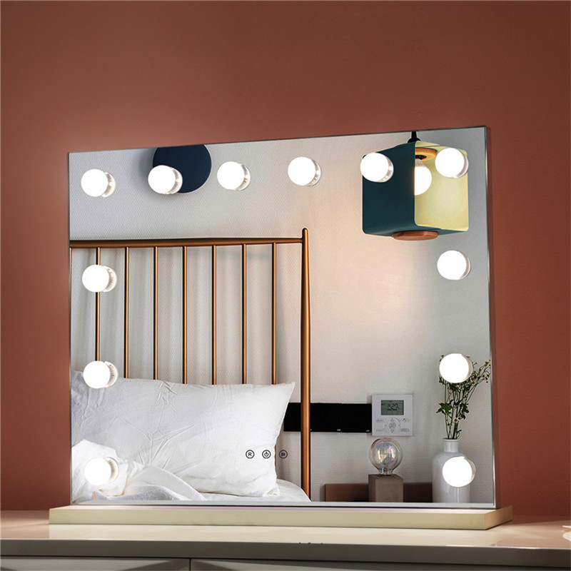 Bedroom Lighted Standing LED Cosmetic Mirror Dimmable Bulbs Makeup Vanity Hollywood Mirror