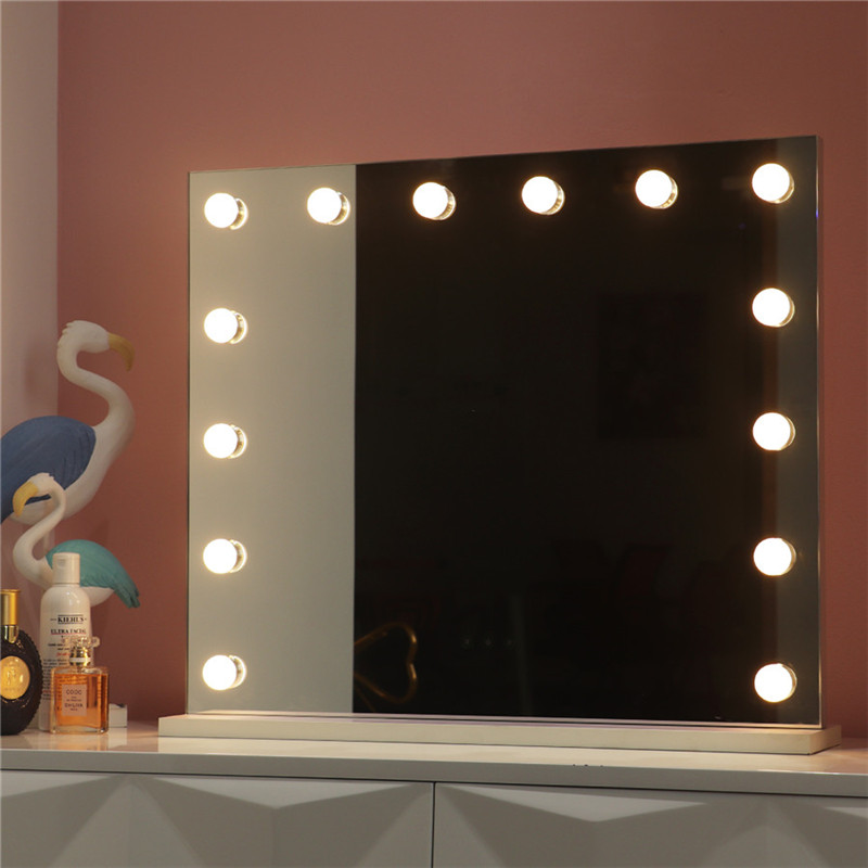 White Large Desktop Hollywood Mirror with 14PCS Lighted Bulbs Makeup Vanity Dressing