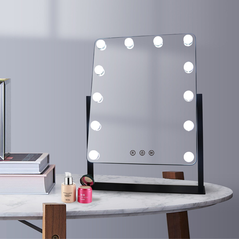 Amazon Best Sale Hollywood Vanity LED Bulb Mirror Desktop Lighted Makeup Mirror