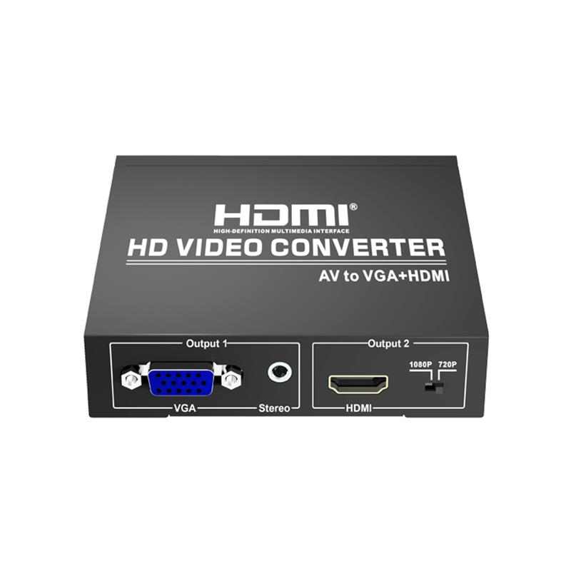 AV to VGA+HDMI Converter Up Scaler 720P/1080P