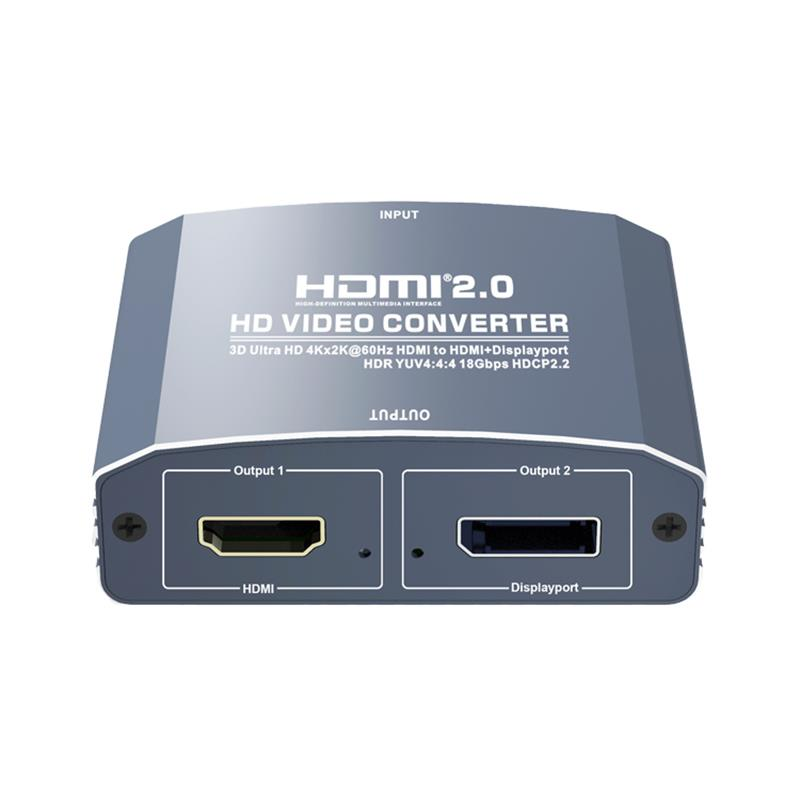 3D Ultra HD 4Kx2K@60Hz HDMI to HDMI+DP Converter Support HDMI2.0 18Gbps HDR YUV4:4:4 HDCP2.2