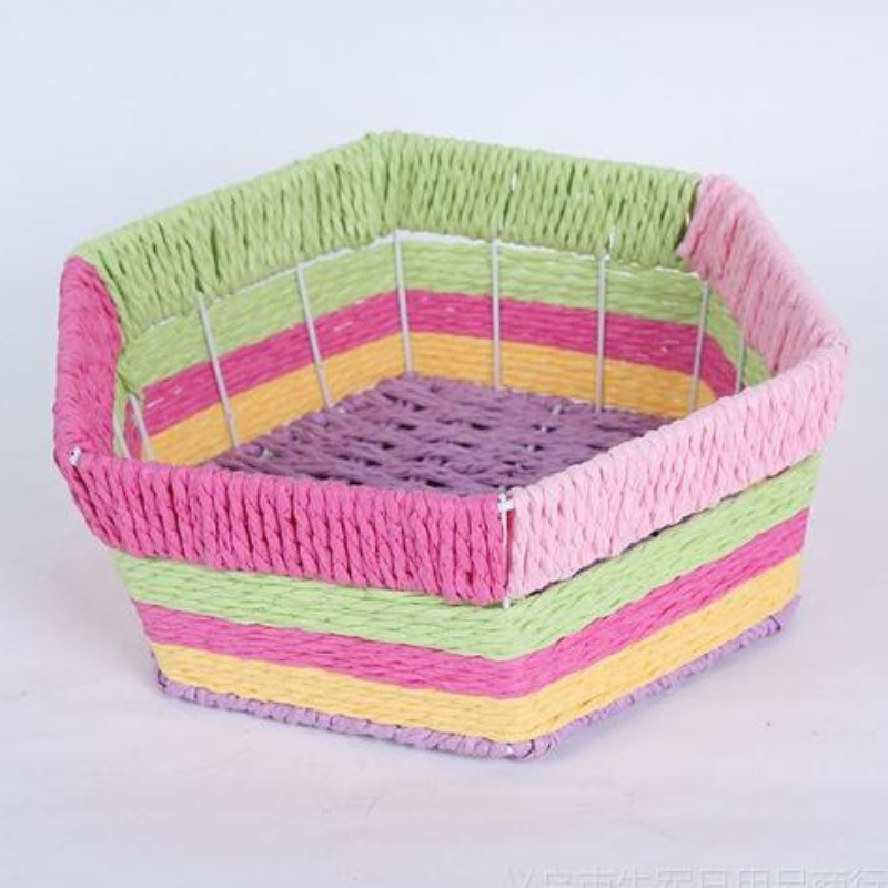Home decor Colorful paper rattan woven storage basket