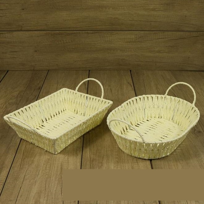 Home decor paper rattan woven storage display tray