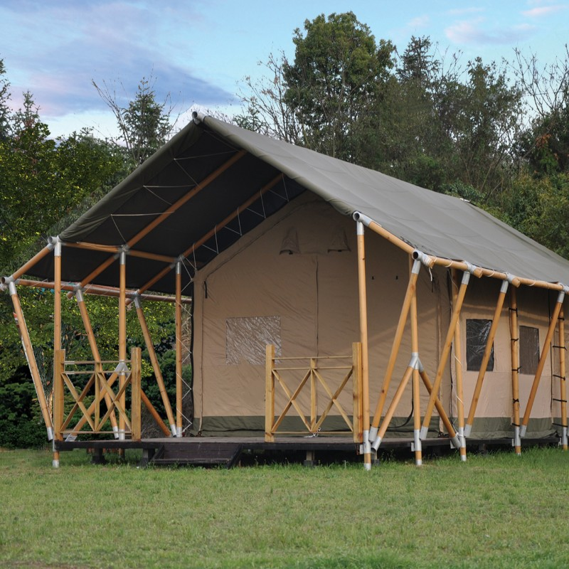 Wooden structure canvas camp glamping tent