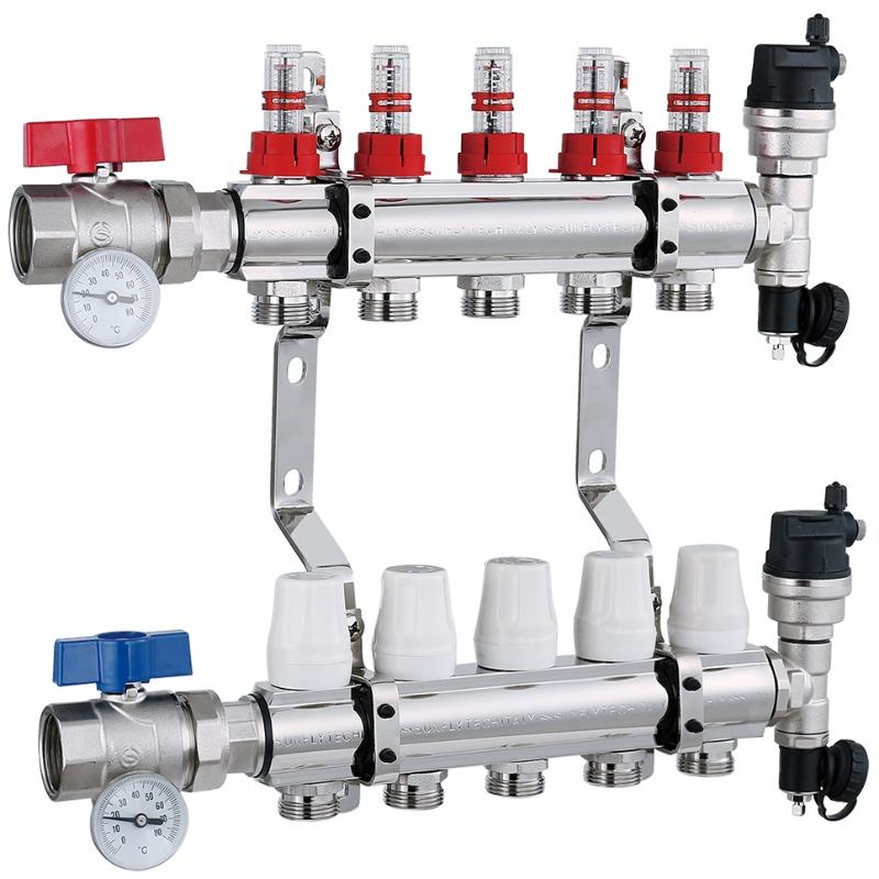 Heating 5 way valve nickel plated brass manifold with flowmeter