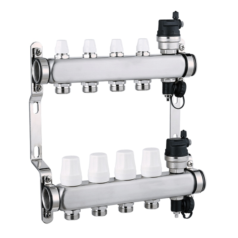 Plumbing ufh 5 way stainless steel water hydronic heating manifold XF26012A