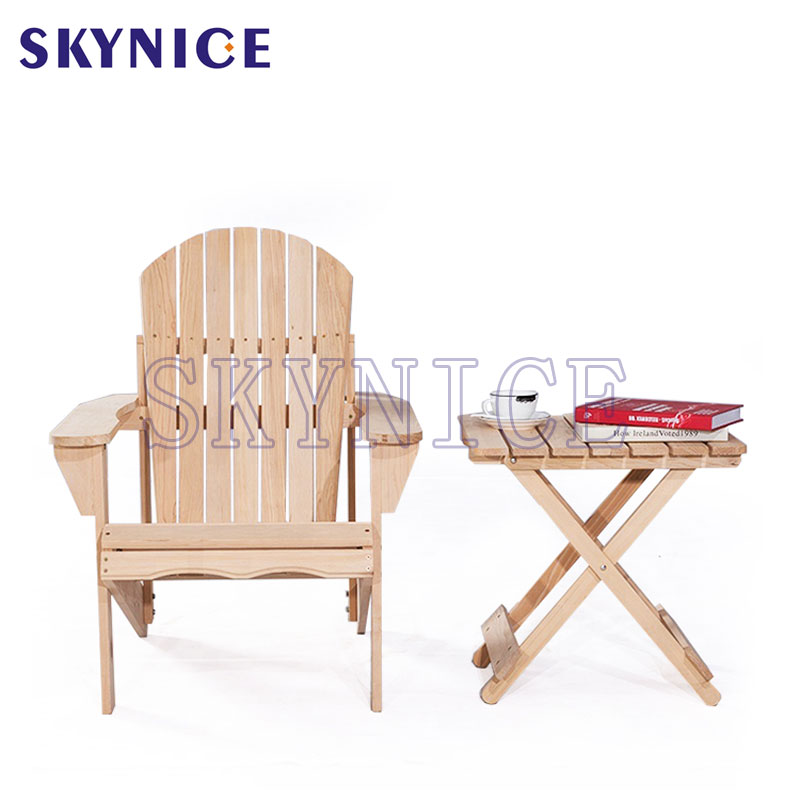 Wood Outdoor Adirondack Chair With Table