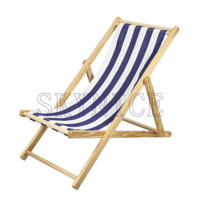 Foldable Outdoor Poplar Wood Sling Beach Chair