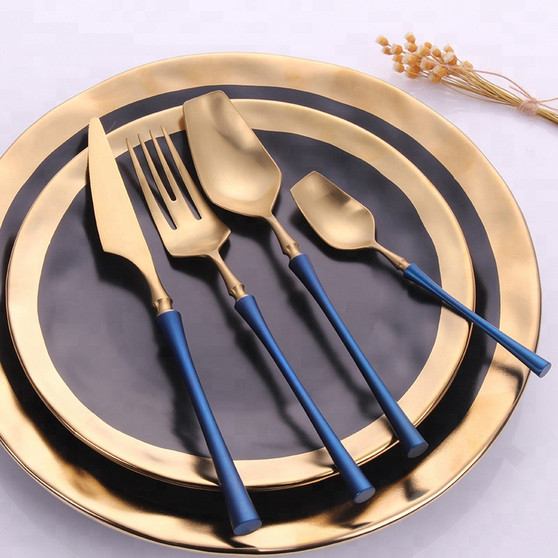 blue handle painting slim waist style flatware set gold stainless steel cutlery set