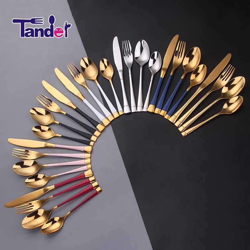 fancy stainless steel silver and gold pvd coating cutlery set items for restaurants/wedding