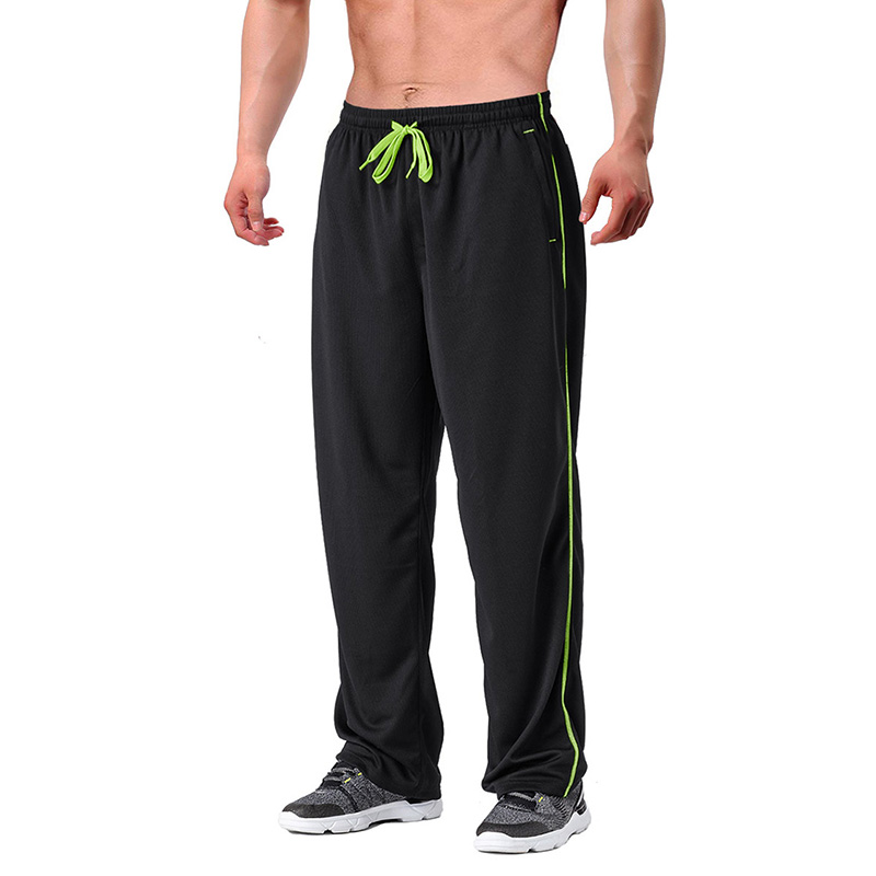 100%Polyester Men\'s Casual  Elastic Waist Summer Breathable Mesh Pants Club Running Trousers