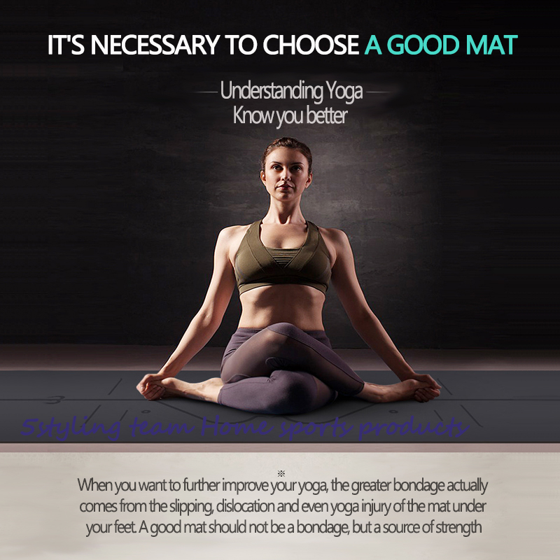 Pu Natural Rubber Yoga Mat position line, sweat absorption and antiskid, earth luxury mat, fitness mat for men and women yoga hall