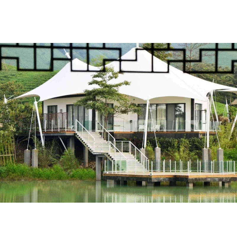 Prefab 2 Bedroom White PVDF Waterproof Fabriccalcium silicate board wall House Tents For Resort