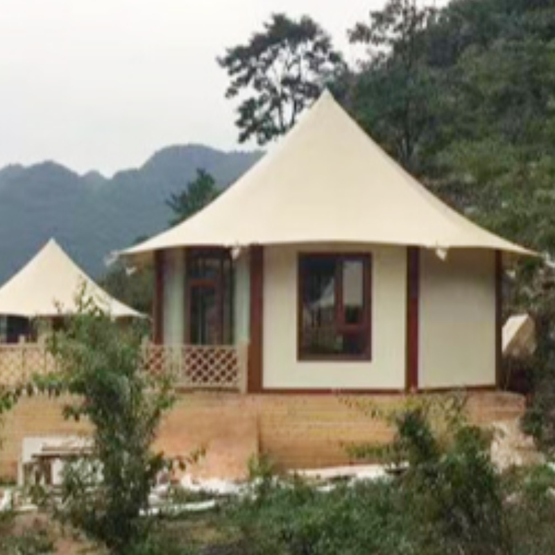 Prefab Houses Calcium Silicate Board Wall Stretched Cable Membrane Structure Villa Tent For 2 people