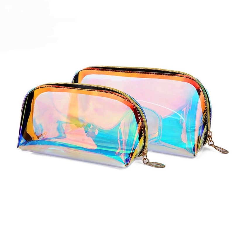Custom Transparent TPU Holographic Cosmetic Bag Personalized Laser Pvc Makeup Bag