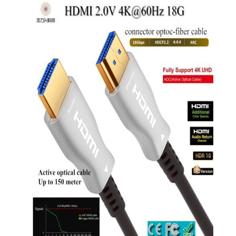 60M/197ft high speed HDMI cable 2.0v 18G 4K@60hz 3D ACR Audio and video cable,support customization