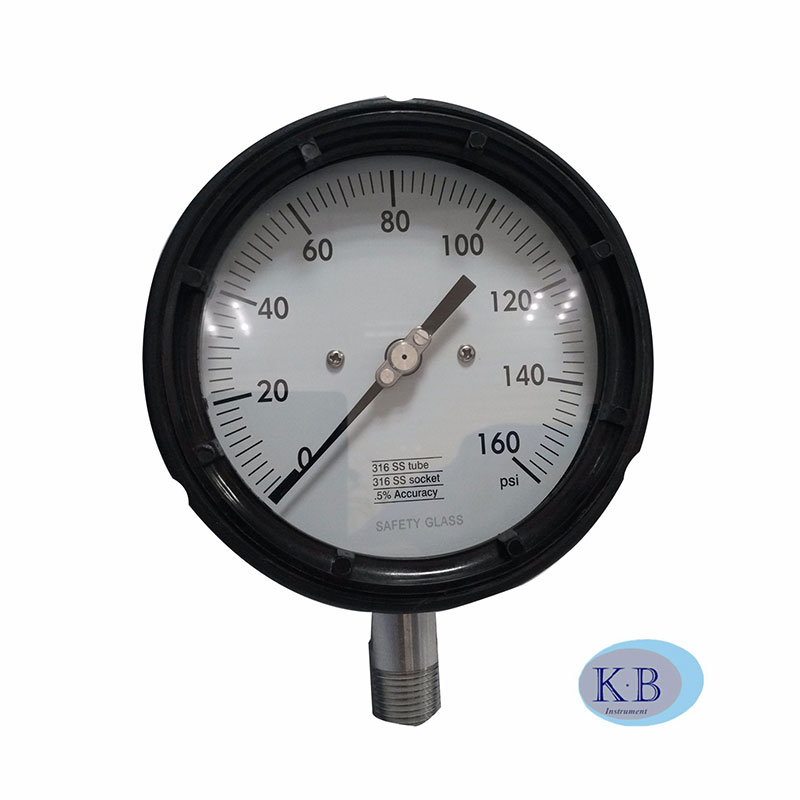 Solid Front Industrial Safety Black Solid front Process Gauge Explosion-proof Pressure Gauge