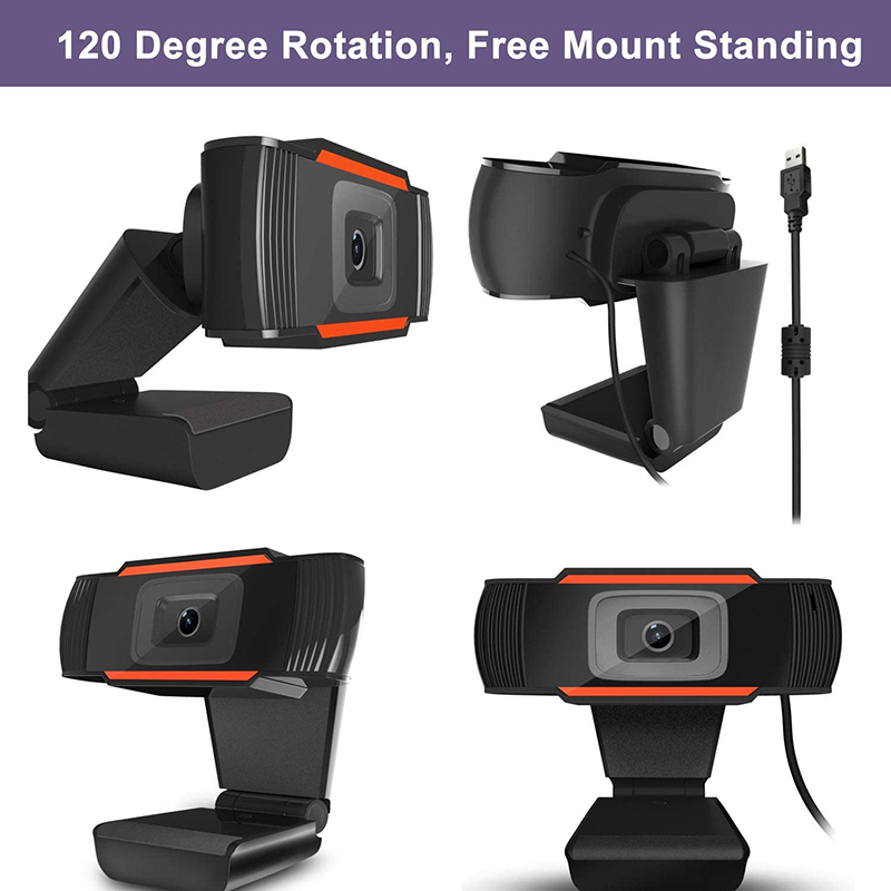 HD 1080P Computer Webcam PC Desktop Rotatable USB 2.0 Camera with Digital Microphone