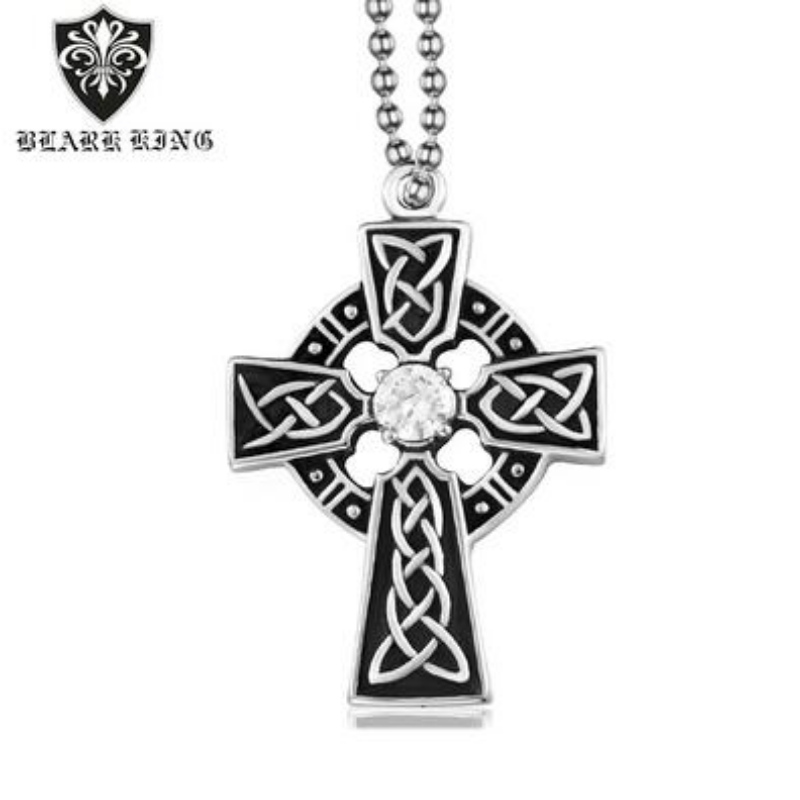 Personalized pattern men's stainless steel cross ring retro fashion Diamond Cross Pendant