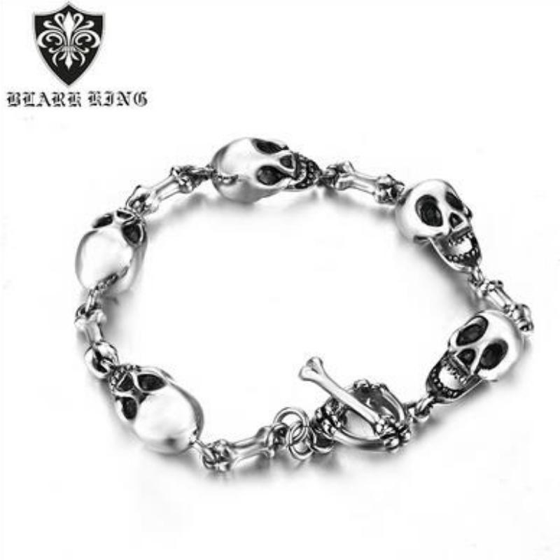 Stainless steel skull men\'s bracelet European and American Creative domineering personality Stainless Steel Skull Bracelet Jewelry
