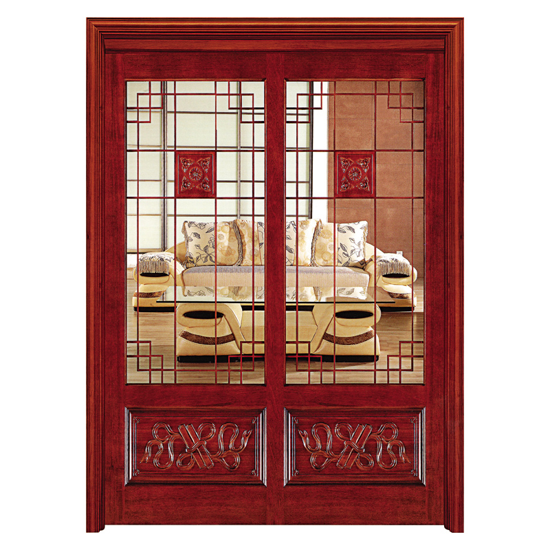 Luxury solid wood frame glass panels sliding door