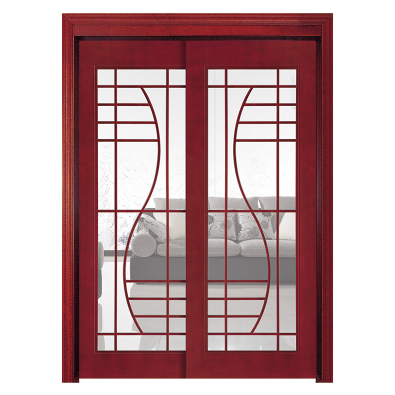 Double sliding wooden frame glass panels door for kitchen