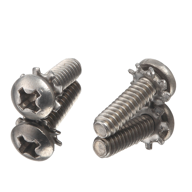 A2 Stainless Steel Pan Head Cross Recess External tooth washer Flower Washer Screws