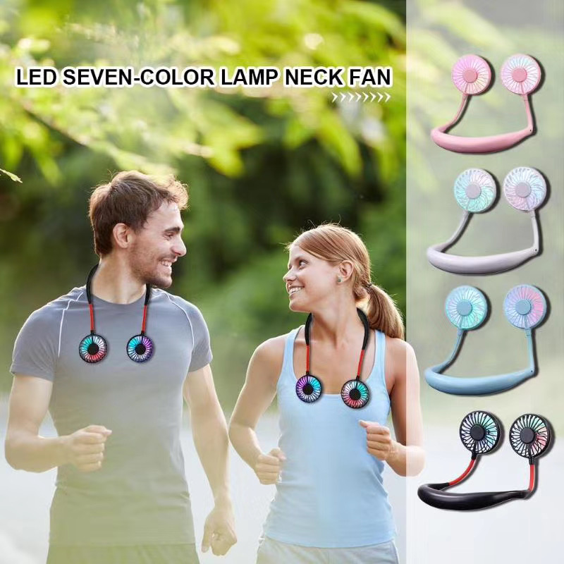 Portable Neckband Sports Fan USB Rechargeable LED Light Fan 3rd Gerneration