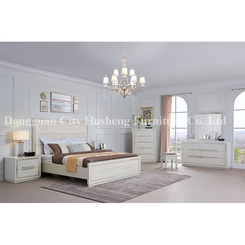 Modern Elegant Bed Bedroom Set Furniture with High White Glossy Painting
