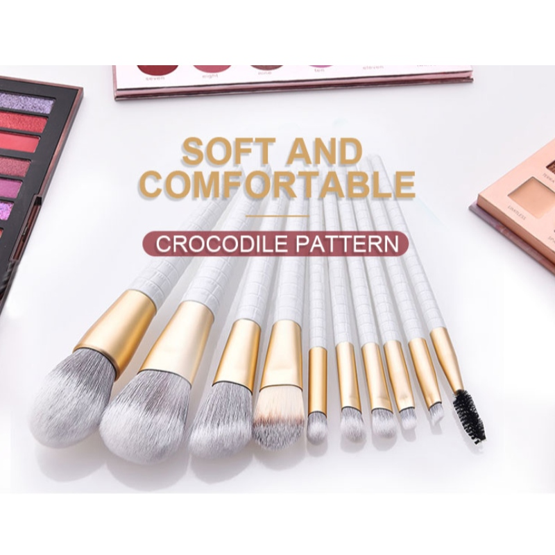 2020 New Crocodile pattern cosmetics brush set with matte fiber