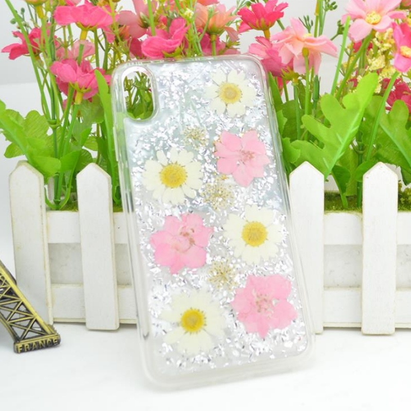 Manufacturer's direct iPhone with gold foil drop adhesive true flower dried flower embossed TPU apple transparent shatterproof case