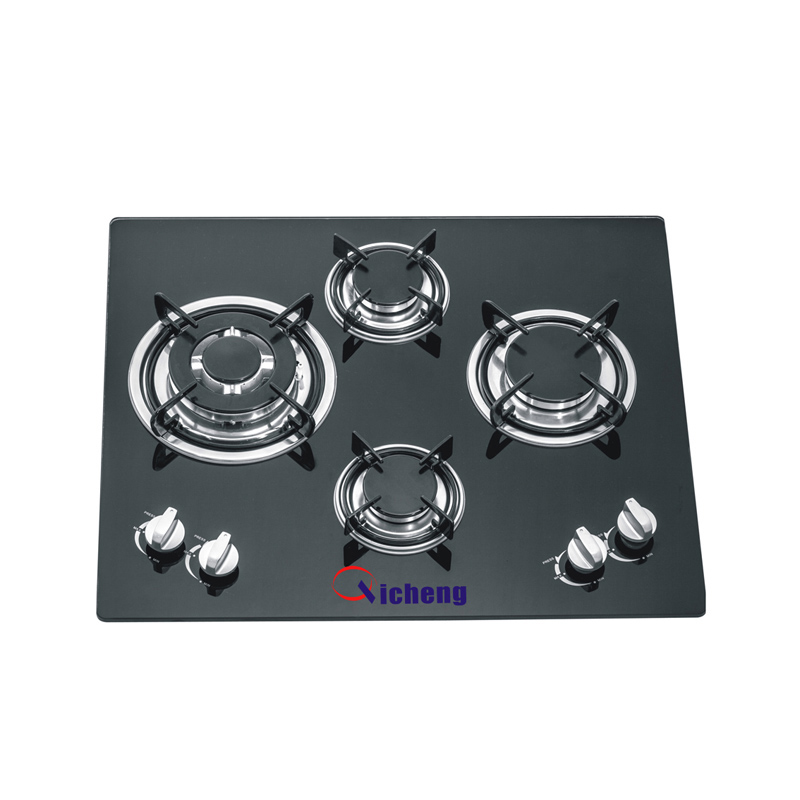 OEM brand glass top bulit in type gas hobs 4 burner