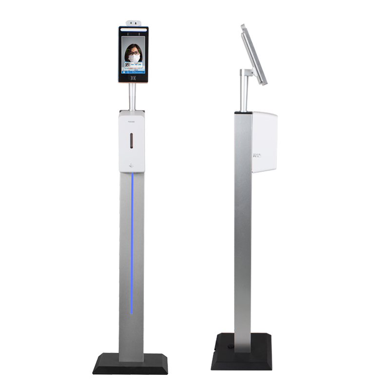 2020 Newest shape 8 inch face recognition body thermometer temperature screener measurement kiosk