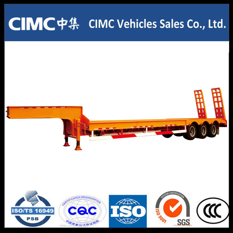 Cimc 3 Axle 70ton Low Bed Semi Trailer with Hydraulic Ramp