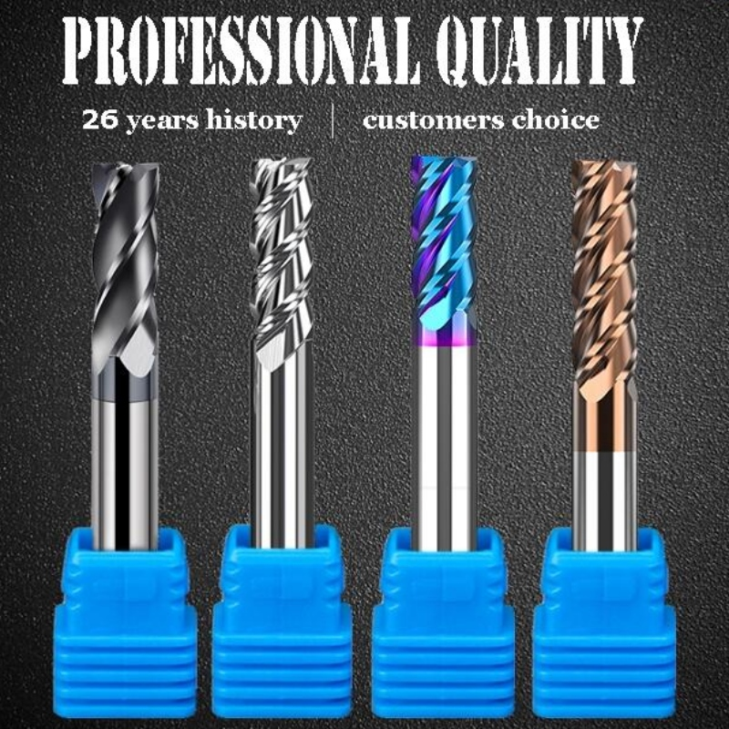 Integral end mill series:1/4 inch cnc solid down cut brazed tungsten carbide flat square wood roughing end mill carbite cutter endmills endmill 4 flute