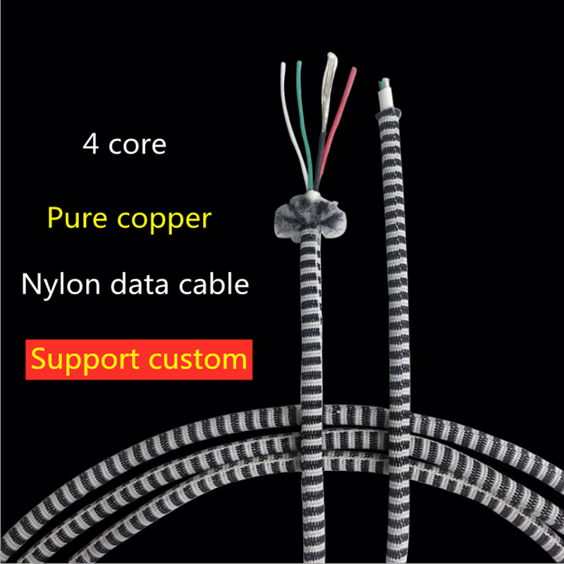 Mobile phone data cable Cable 4 core stripe braided wire pure copper conductor USBmicro charging cable cable