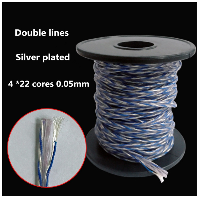 4 strands of high permeability anoxic copper plated silver and blue pair are lined with earphone wires