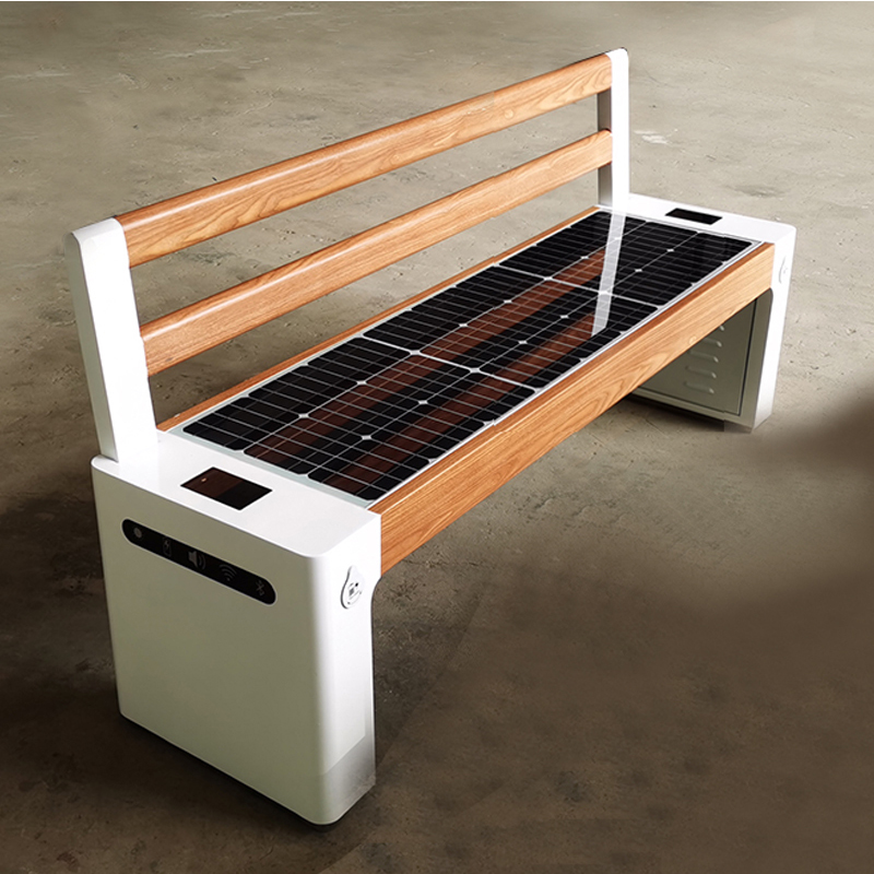 Large Format WPC Wood Galvanized Steel Smart Voice Solar Bench