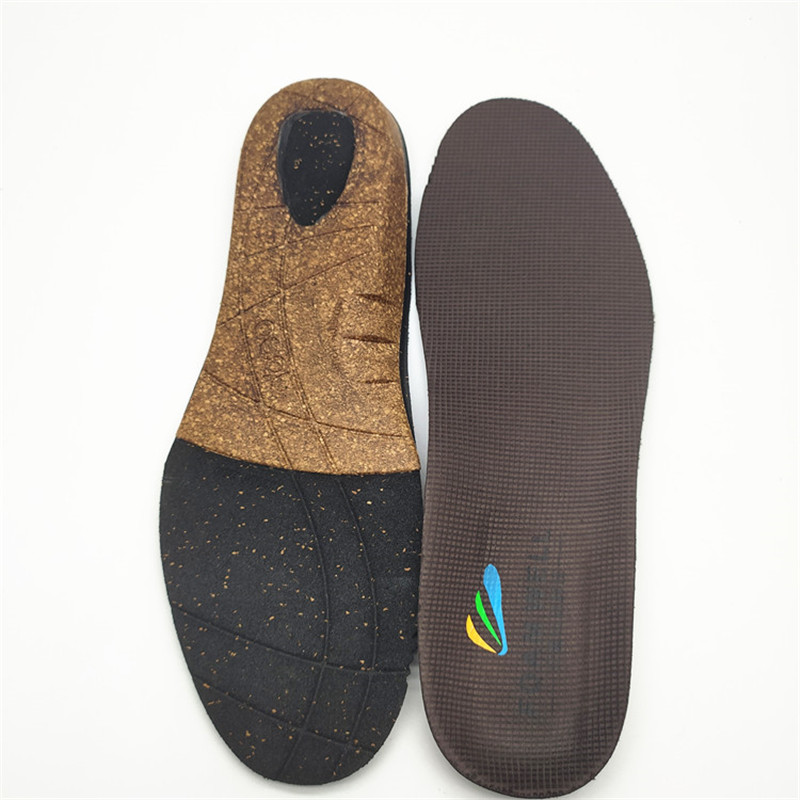 Functional custom heat moldable anti-slip  shock absorb foot care cork orthotic shoe insole