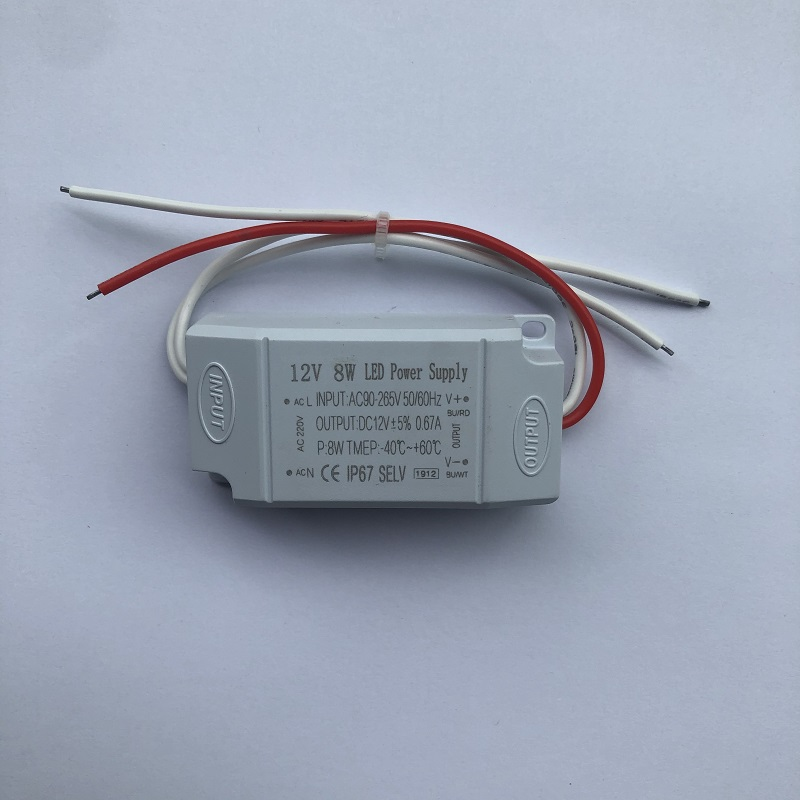 12V8W high quality constant voltage mini plastic casing  stabilized voltage led module power