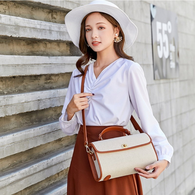 Autumn and winter new cotton and hemp sail cloth versatile portable bucket women's bag simple pillow one shoulder handbag wholesale
