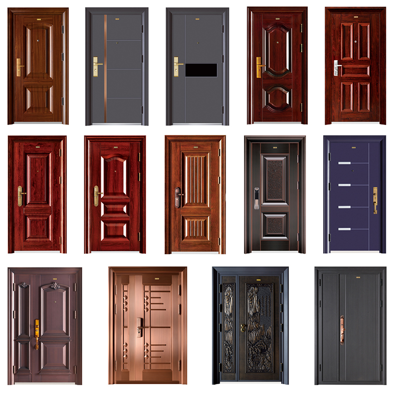 Brand New For Hotel Modern Doors Excellent Steel Door Hot Selling Iron Paint Colors Door Steel Security Doors Multifunctional Decorative Modern Front Door High Security Residential Doors