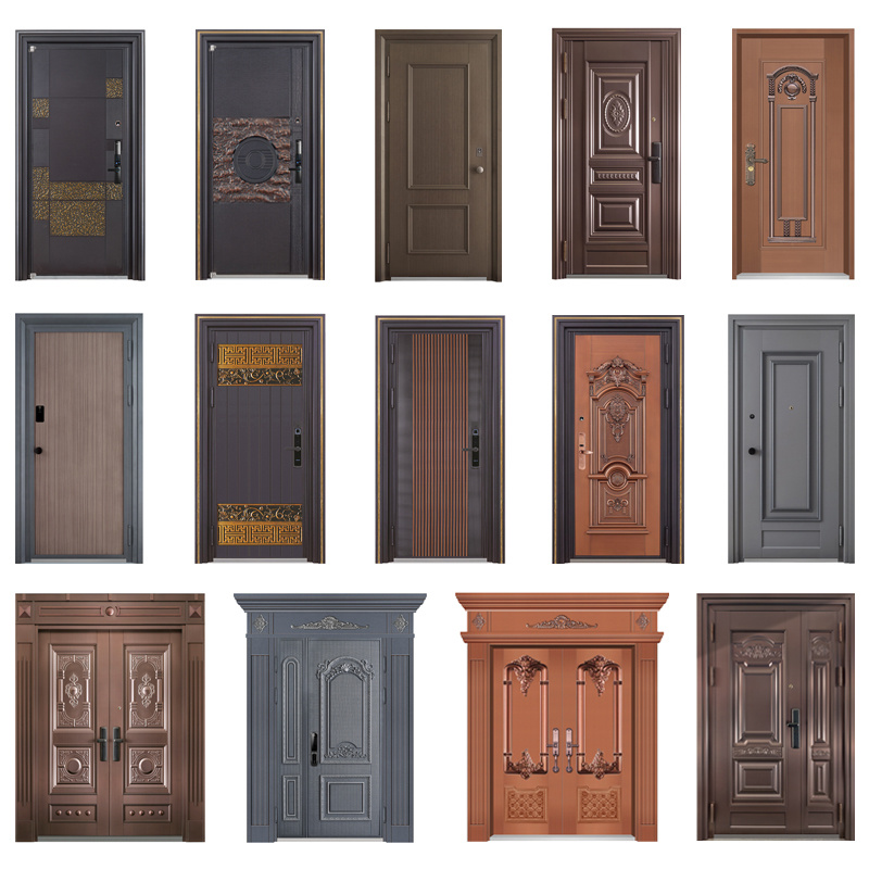 Customized Wooden In Guangdong New Steel Wood Security Door Super Armoured Doors New Settings Fancy Design Armored Steel Wood Door Armoured Security Doors Chinese Factory Fancy Wood Design Moulded Veneer Steel Door Material Armoured Doors