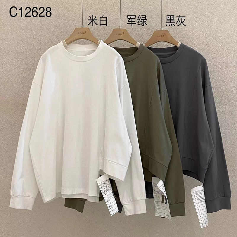 Loose-fitting design Minimalist Round Collar style Stitched sleeve style Casual Solid color cotton and linen oversized custom 12628 T-Shirts