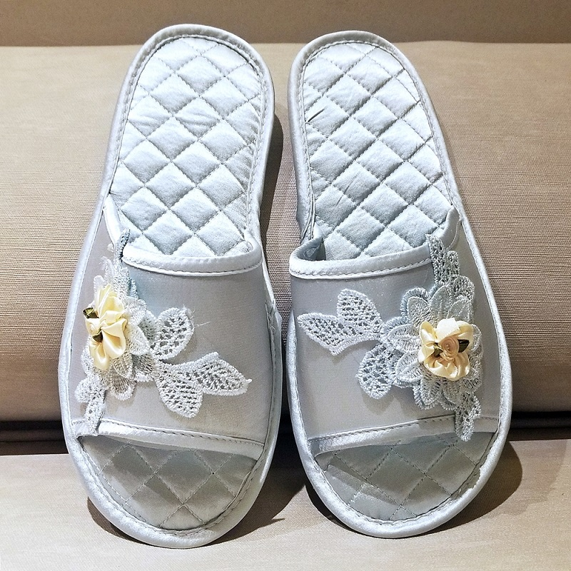 Quilted Silky Satin Embordiery Slides